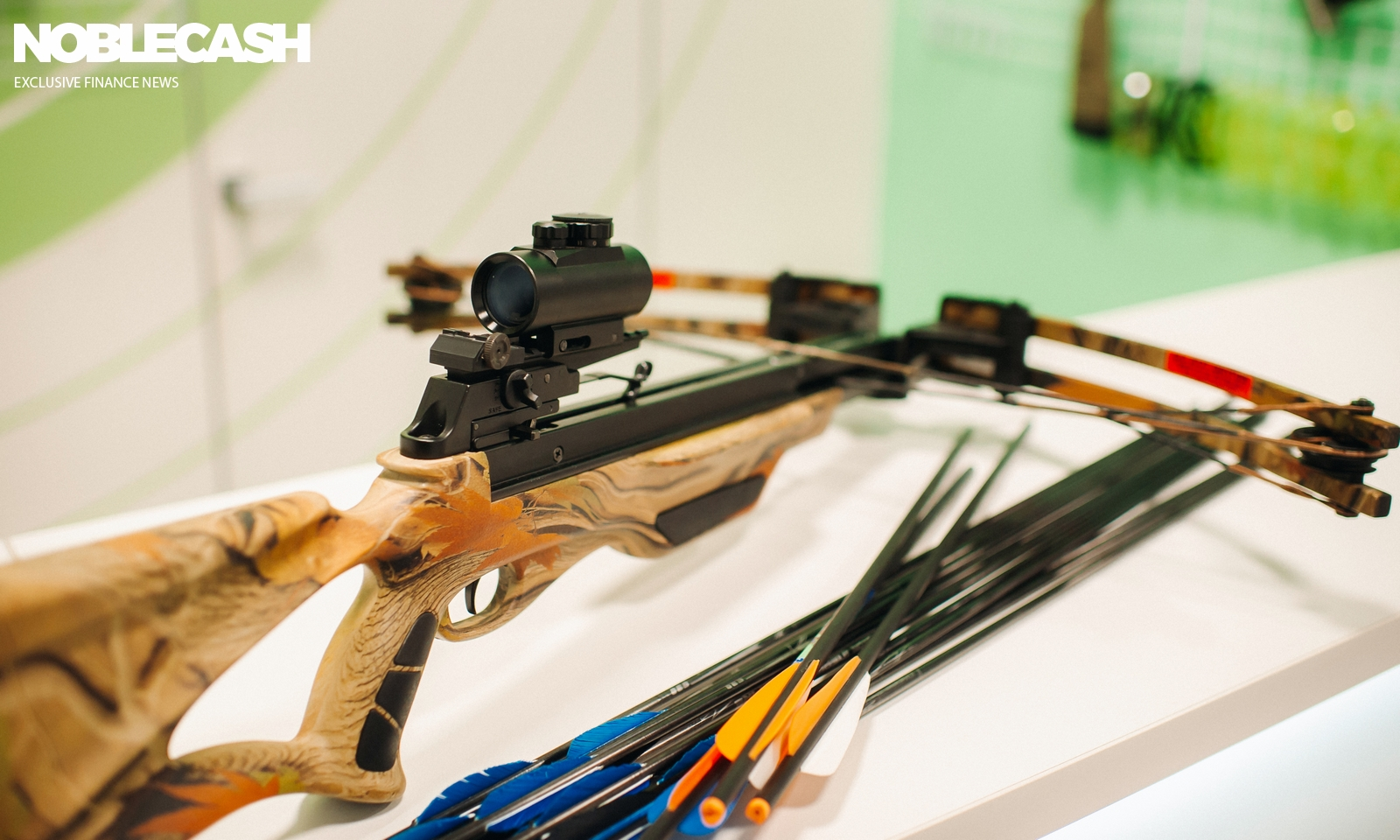 crossbow with arrows for shooting at a shooting range.Weapons for shooting at a shooting range.